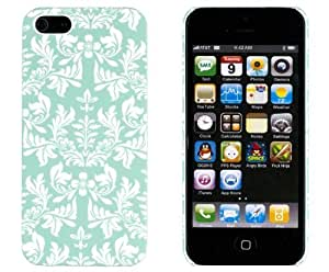 Mint Green Flower Embossed Slim Fit Hard For SamSung Note 4 Phone Case Cover 5 (ATT, Verizon, Sprint, International) - Includes Sunshine Case Keychain Screen Cleaner [Retail Packaging by Sunshine Case]