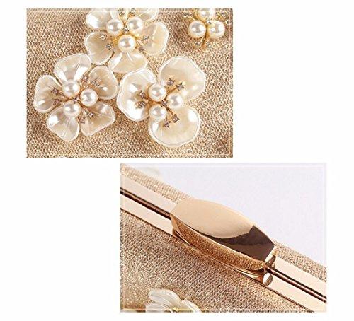 lujo de XJTNLB Diamante noche mano perla Plateado Cena la Plateado pétalo de de cena bolso novia diamante wqA7Erf1q