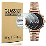 Diruite 3-Pack for Fossil Q Venture HR Screen Protector Tempered Glass for Fossil Q Venture Gen 4 Smartwatch [2.5D 9H Hardness][Anti-Scratch][Optimized Fit Version] - Permanent Warranty Replacement
