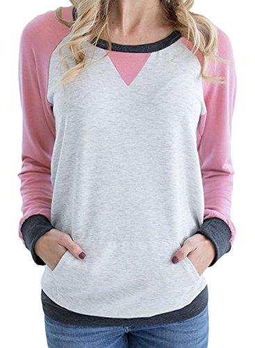 Pink Raglan - Podlily Women's Raglan Long Sleeve Patch Elbow Sweatshirt Top XX-Large Pink