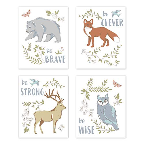 Sweet Jojo Designs Blue, Grey, Brown and Orange Wall Art Prints Room Decor for Baby, Nursery, and Kids for Woodland Animal Toile Collection - Set of 4 - Brave, Clever, Strong, Wise