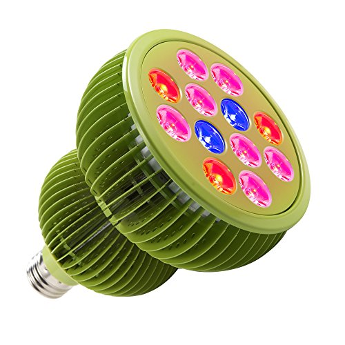 TaoTronics LED Grow Lights Bulb, Grow Lights for Indoor Plants, Plant Lights, Grow Lamp for Hydroponics, Organic Soil, Applicable to Grow Banana, Lemon etc. (36W, 3 Bands, FREE E26 Socket)