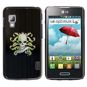 Be Good Phone Accessory // Dura Cáscara cubierta Protectora Caso Carcasa Funda de Protección para LG Optimus L5 II Dual E455 E460 // Skull Pirate Crest Flag