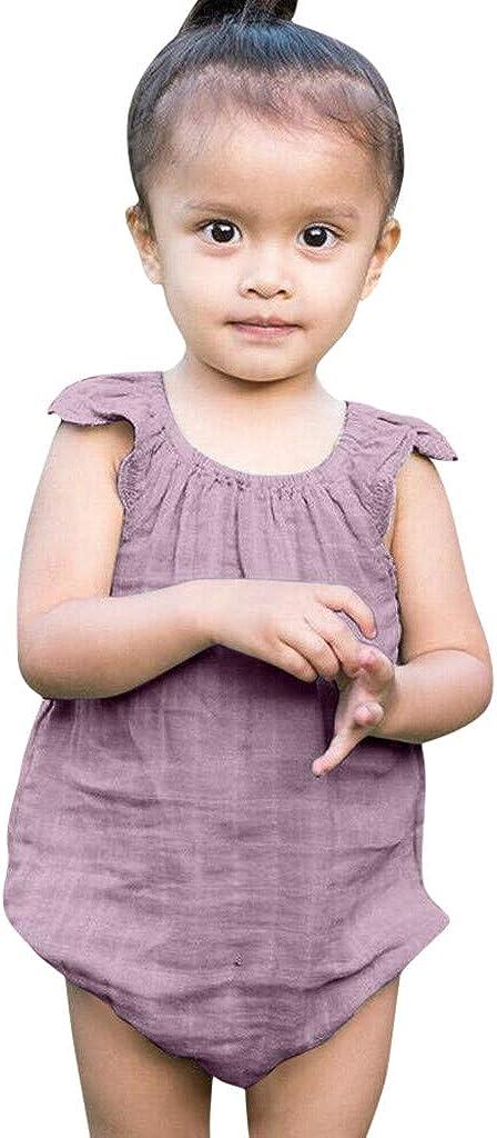 Alwayswin Sommer Jungen M/ädchen Fliegen Strampler Stirnband Einfarbig /Ärmellos Spielanzug Unisex Baby Outdoor L/ässige Romper Bequem Atmungsaktiv Babykleidung O-Ausschnitt Weste
