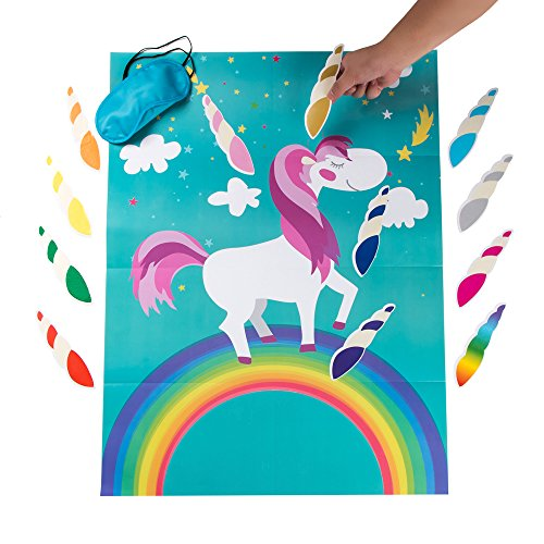 - MISS FANTASY Pin the Horn on the Unicorn Birthday Party Favor Games Kids Party Supplies Unicorn Gifts for Girls Game Include a Large Poster 24 Reusable Sticker Horns Good for Big Parties