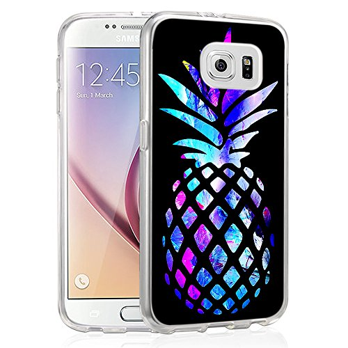 (Pineapple Case for Galaxy S6,Gifun [Anti-Slide] and [Drop Protection] Clear Soft TPU Premium Flexible Protective Case For Samsung Galaxy S6 - Brightly Colored Marble Pineapples)