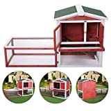 JAXPETY 61'' Outdoor Rabbit Hutch Cage Large House Wood Wooden Habitat Animal Pet Small