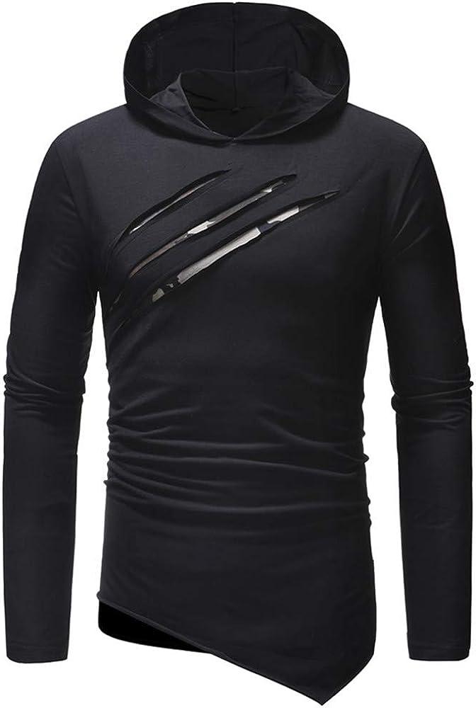 DISCOUNTL Primavera y otoño de los Hombres nuevos Casual con Capucha Delgada de Manga Larga Camiseta de la Camisa de Fondo