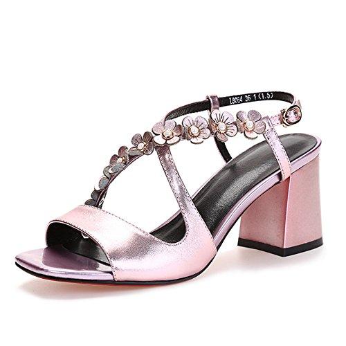 Verano de tacón alto salvaje zapatos resistentes/Una palabra hebilla sandalias de cuero sexy A