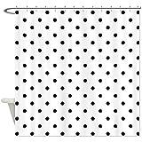 STARFISH CafePress Black Polka Dot Pattern. Shower Curtain - Standard White