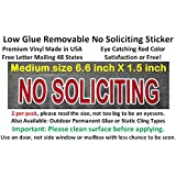 2X Premium and Best reviewed NO SOLICITING sticker decal, outdoor removable low back glue (not static). This no soliciting sign is transparent with red color as a stop sign, so no solicitors should knock your door