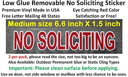2X Premium and Best reviewed NO SOLICITING sticker decal, outdoor removable low back glue (not static). This no soliciting sign is transparent with red color as a stop sign, so - Tracking International Class Mail First