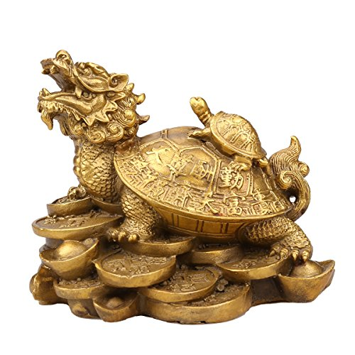 Brass Feng Shui Turtles On Top Of A Dragon /feng shui dragon turtle