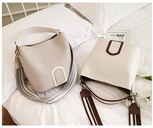 Bag Belt Fashion Gray Messenger Bag Bucket Casual Shoulder Rrock Wild Gray Bag Colored Wide PgwzxqF