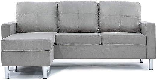 Amazon Com Divano Roma Furniture Modern Sectional Grey Furniture Decor