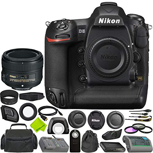 Nikon D5 DSLR Camera (Body Only, Dual CF Slots) + Nikon?AF-S NIKKOR 50mm f/1.8G Lens Bundle