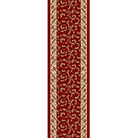 Custom Size Veronica Floral Dark Red Burgundy Roll Runner 22 in or 26 in Wide x Your Length Choice Slip Resistant Rubber Back Area Rugs and Runners (Dark Red (Burgundy), 2 ft x 26 in)