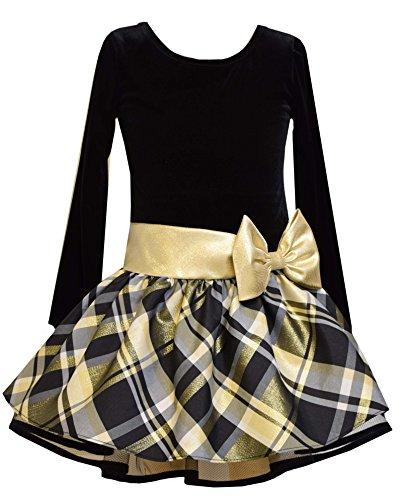 Bonnie Jean Girls Drop Waist Black and Gold Shimmer Dress (2t-6x) (6x)