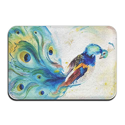 - Pingshoes Watercolor Beautiful Peacock Home Door Mat Super Absorbent Non Slip Front Floor Mat,Soft Coral Memory Foam Carpet Bathroom Rubber Entrance Rugs for Indoor Outdoor