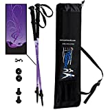 York Nordic Purple Haze Design Hiking & Walking Poles - Lightweight, Adjustable, and Collapsible - Pair w/flip Locks, Rubber Feet and Travel Bag