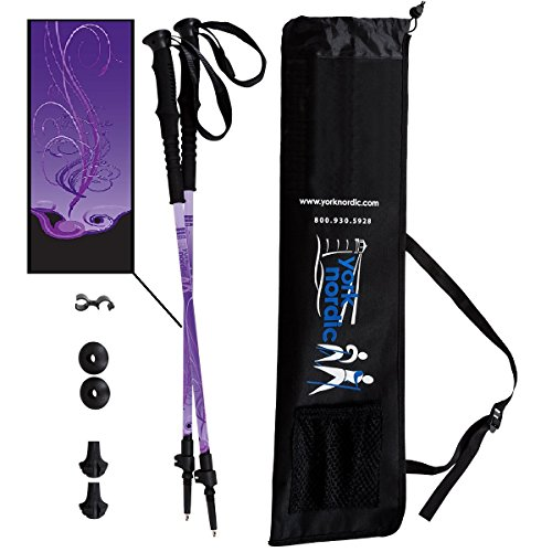 York Nordic Purple Haze Design Hiking Walking Poles – Lightweight, Adjustable, and Collapsible – Pair w flip Locks, Rubber feet and Travel Bag