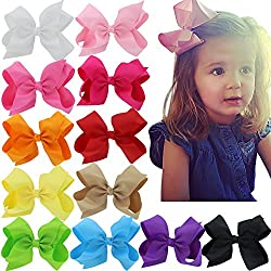 6 Inch Hair Bows Big Large Grosgrain Ribbon Boutique Hair Bow Clips For For Girls Teens Toddlers Kids Set Of 12