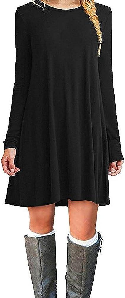 TALLA M. ZNYSTAR Mujer de Camiseta Suelto Casual Cuello Redondo Mini Vestidos Negro Manga Larga