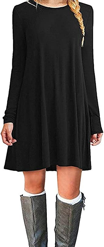 TALLA XXL. ZNYSTAR Mujeres Suelto Casual Vestido de Camiseta Cuello Redondo Negro Manga Larga XXL