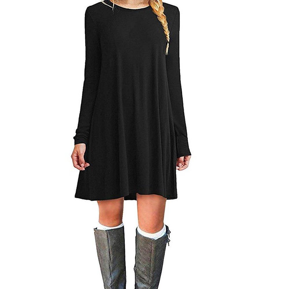 TALLA XL. ZNYSTAR Mujer de Camiseta Suelto Casual Cuello Redondo Mini Vestidos Negro Manga Larga XL