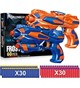 POKONBOY 2 Pack Blaster Guns Toy Guns for Boys with 60 Pack Refill Soft Foam Darts for Kids Birth...
