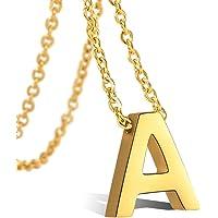 VU100 Colgante de Inicial Letra A-Z Colgante para Mujer Niñas de Acero Inoxidable Chapado en Oro de 18K, 45cm Cadena Cuerda