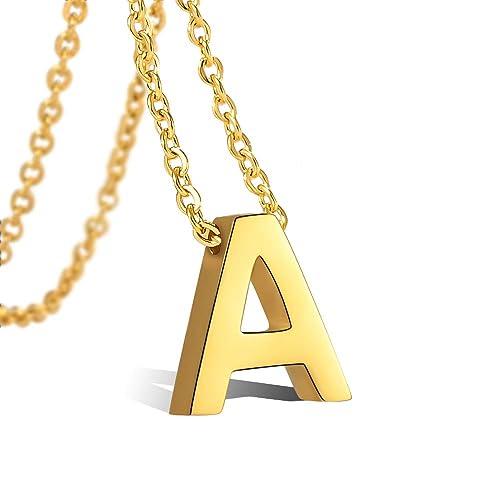 VU100 Collar Inicial para Mujer Niñas Colgante Letra de Acero Inoxidable Chapado en Oro de 18K, 45cm Cadena Cuerda