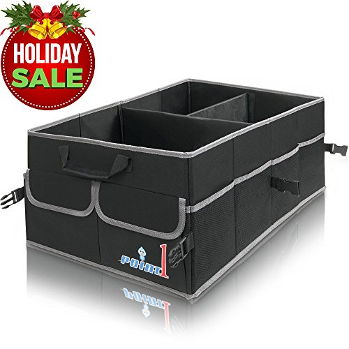 Premium Quality Auto Trunk Organizer, Heavy Duty Cargo Storage Bag, Non-Slip Bottom Strips to Prevent Sliding, For Car SUV, Truck, Incl Bonus Backseat Organizer (Cargo Travel Organizer)