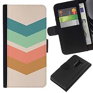 Flecha Modelo en colores pastel Verde Marrón- la tarjeta de Crédito Slots PU Funda de cuero Monedero caso cubierta de piel Para LG G2 D800