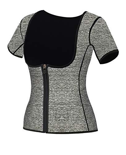 Mlxgoie Women Neoprene Sauna Sweat Waist Trainer Vest for Weight Loss Gym Workout Body Shaper Tank Top Shirt with Zipper (Grey, Small)