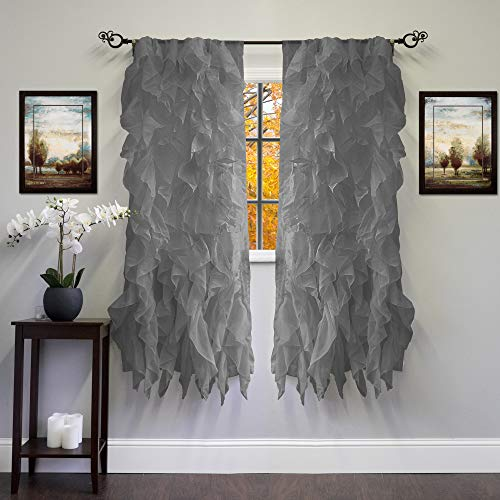 Sweet Home Collection 2 Pack Window Panel Sheer Voile Vertical Ruffled Waterfall Curtains 63