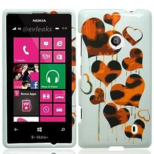 Nokia Lumia 521 Hard Shell Protective Snap-On Case Cover - Leopard Hearts