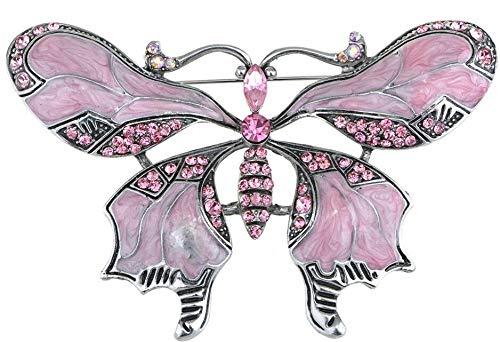 Large Silver White Filigree Butterfly Crystal Rhinestone Brooch Pin Jewelry Pin (Amount - B0155)