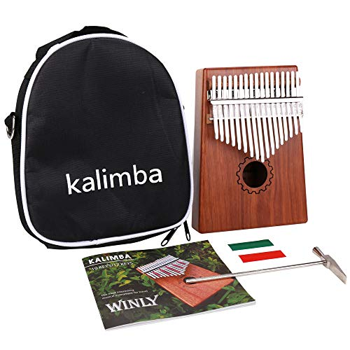 IAMGlobal Kalimba Thumb Piano 17 Keys with Mahogany Wooden with Bag, Hammer and Music Book, Perfect for Music Lover, Beginners, - Hammer Music