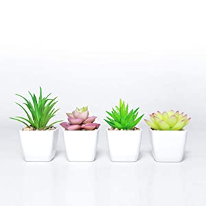 Fake Succulents Plants Artificial Plant Potted in Mini Square White Pots for Wedding Home Garden Decor Set of 4(Green)