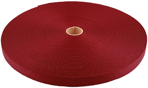 3/8 Inch Red Berry Heavy Nylon Webbing Closeout, 350 Yards