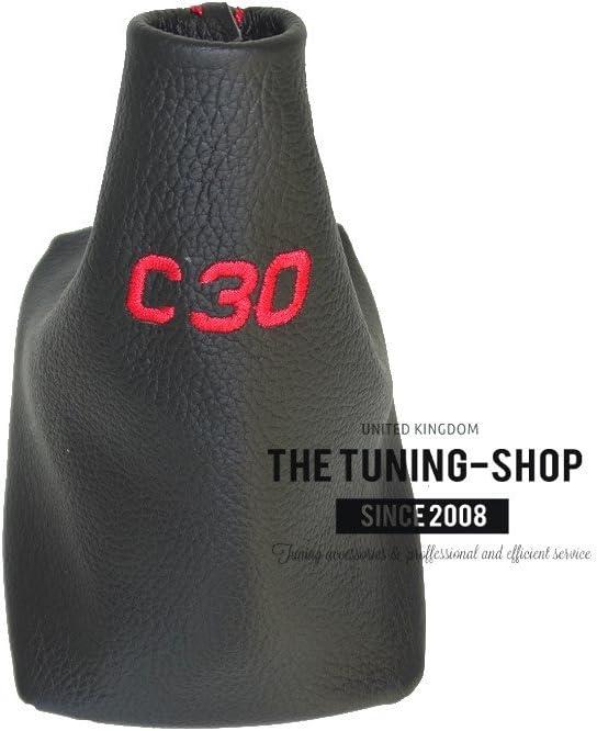 Schaltsack Schaltmanschette schwarz Leder rot Stickerei C30/mit Kunststoff Rahmen