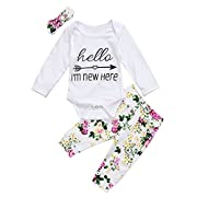 Newborn Baby Girl Hello I'm New Here Arrow Long Sleeve Romper Floral Pants Headband Outfit (0-3M, White)