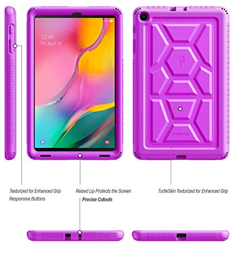 Galaxy Tab A 10.1 2019 Case, Model SM-T510/T515, Poetic Heavy Duty Shockproof Kids Friendly Silicone Case Cover,TurtleSkin Series, for Samsung Galaxy Tab A Tablet 10.1 Inch (2019), Purple