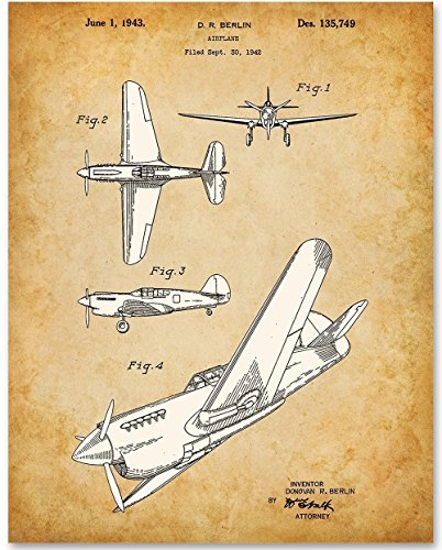 Curtiss P-40 Warhawk Fighter Ground-Attack Airplane Patent - 11x14 Unframed Patent Print - Great Gift for World War II (WWII) - Stores Airport Ohare
