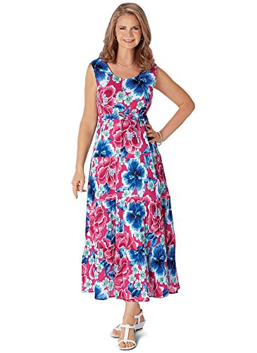 Carol Maxi Fuschia Crinkle Gifts Wright Dress Cotton r4qrRv