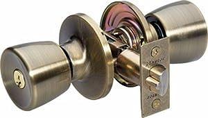 Master Lock TUO0105 Tulip Keyed Entry Door Knob, Antique Brass
