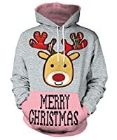 GLUDEAR Unisex 3D Ugly Christmas Pattern Pullover Novelty Hoodies Sweatshirt Outwear,Merry Christmas,L/XL