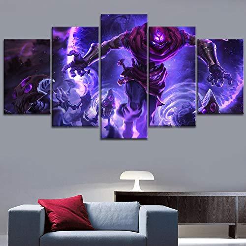 Legends Furniture Contemporary Light - sansiwu 5 Piece League of Legends Malzahar Poster Modern Canvas Printing Modular Pictures Type Style Home Decorative Wall Artwork(Frameless)