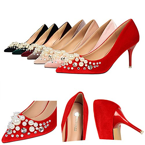 Manyis Mode Femmes Peu Profondes Mignon Perle Talons Hauts Lady Crytal Stiletto Point-toe Chaussures Abricot